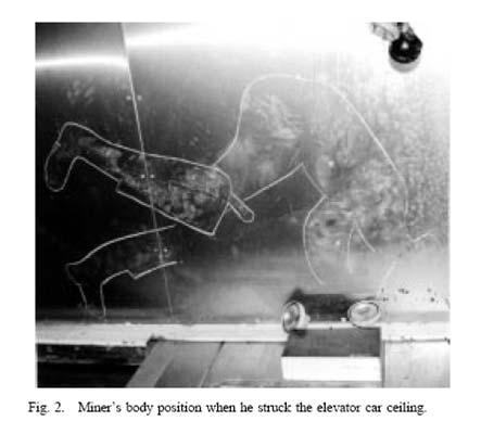 شکل 2- برخورد کارگر با سقف کابین آسانسور