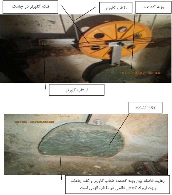 رعایت فاصله بین وزنه کشنده طناب گاورنر و کف چاهک