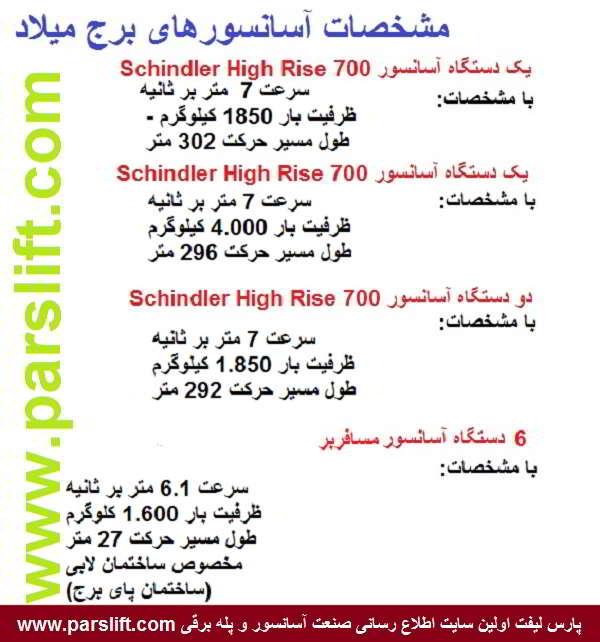 مشخصات فنی آسانسورهای برج میلاد www.parslift.com