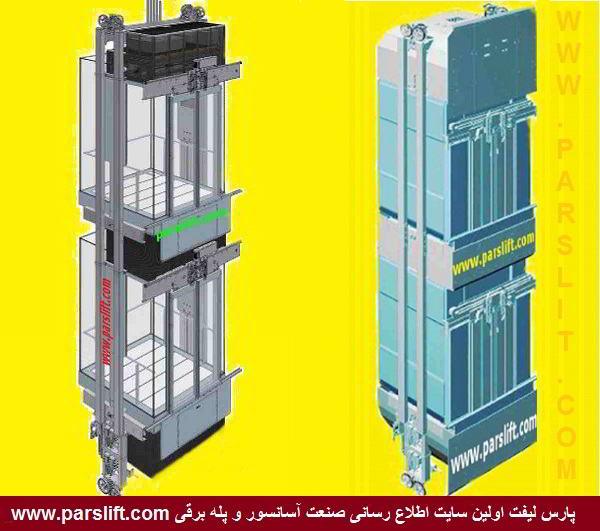دو کابین دو طبقه آسانسور ساده و پانوراما parslift.com