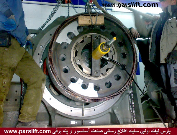 سرهم کردن قطعات پس از جاگذاری آنها در موتور گیرلس آسانسور برج میلاد www.parslift.com