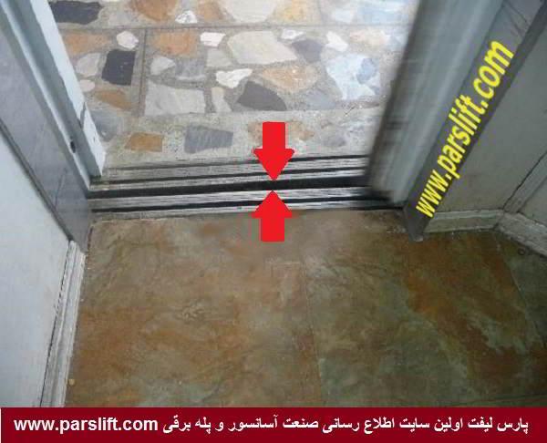 فضای بین دو درب طبقه و کابین محل افتادن کلید به کف چاه www.parslift.com