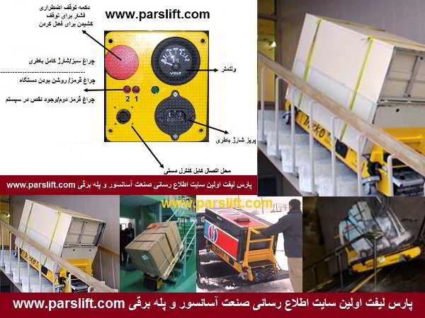 آسانبر شیب رو مناسب حمل تجهیزات سنگین از پله و شیب های تند www.parslift.com