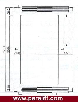 پلان کابین و چاه آسانسور بیماربر/ برانکارد بر www.parslift.com