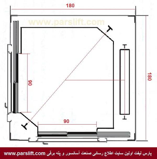 کابین آسانسور با دو درب متقاطع www.parslift.com